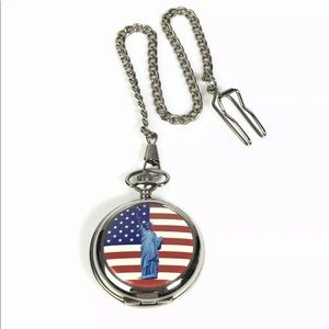 Pocket Watch USA Flag Statue of Liberty with Chain